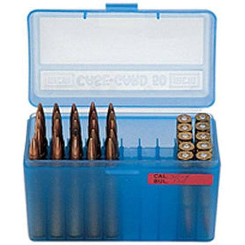 MTM Case-Gard Medium Flip Top 50 Round Rifle Clear Blue RMLD-50-24