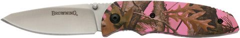 "Bg Knife Edc Folding Hunter 2.62"" Blade Pink Camo Alum 3220250"