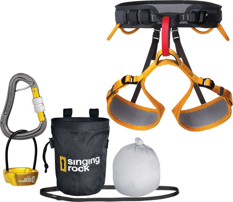 Singing Rock Versa II Rock Climbing Harness Starter Pack L-2XL
