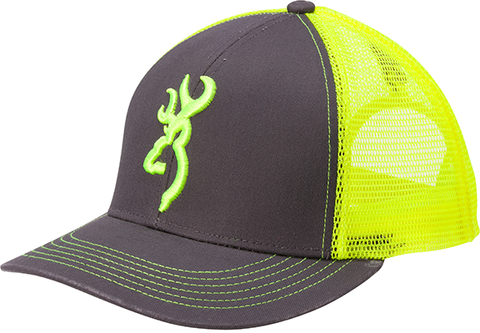 Browning Browning Flashback Neon Cap Charcoal/Neon Green w/Buckmark