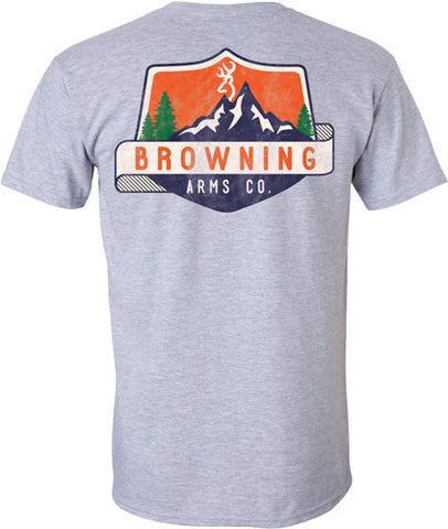 Browning Men's T-Shirt Mountain Shield X-Large Sport Gray