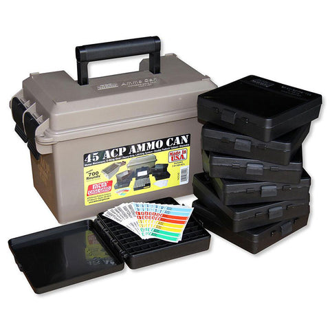 MTM 45 ACP Ammo Can for 700 rd. Includes 7 each P-100-45's Dark Earth