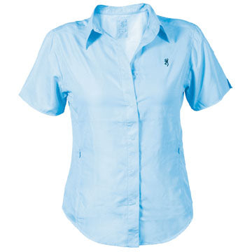 Browning Womens Escape Shirt Light Blue Short Sleeve