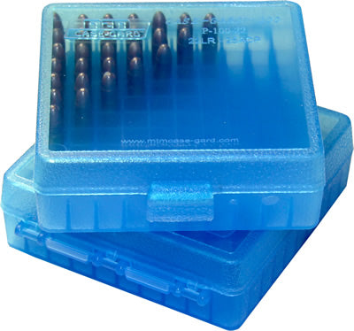 Ammo Box 100 Round Flip Top For .22 LR Clear Blue