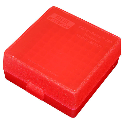 MTM Ammo Box 100 Round Flip Top For 22 Mag - 17 HMR Clear Red