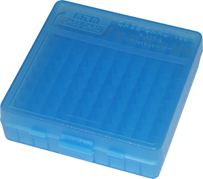 Ammo Box 100 Round Flip-Top 40 10mm 45 ACP Clear Blue