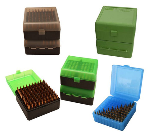 Mtm Deluxe Ammo Box Rifle 100 Rounds .22-250 To .375H&H Grn R-100-10