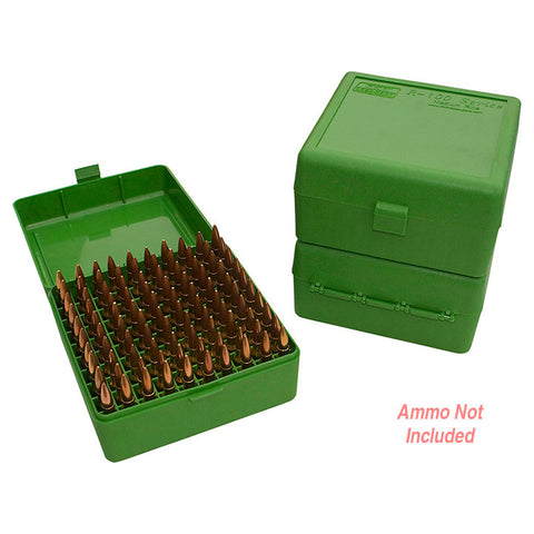 MTM Ammo Box 100 Round Flip-Top 22-250 243 308 Win 220 Swift Green