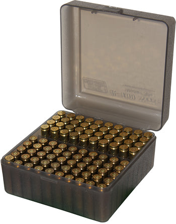 Ammo Box 100 Round Flip-Top 223 204 Ruger 6x47 Clear Smoke