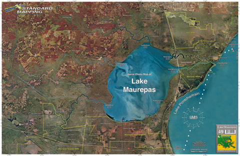 Standard Laminated Map Lake Maurepas M049