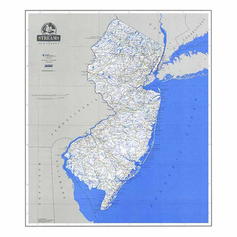 Vivid Publishing Stream Map Of Nj Laminated