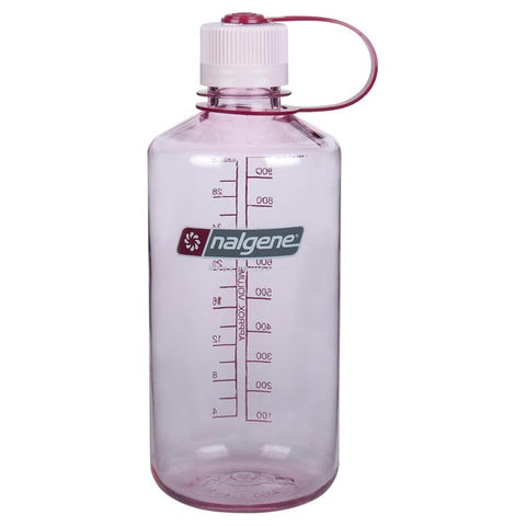 Nalgene Narrow Mouth Water Bottle 1 Quart Clear Pink with Pink Lid