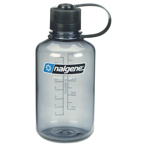 Nalgene Narrow Mouth Water Bottle 1 Pint Gray with Black Lid