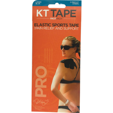 KT Tape Pro Elastic Sports Tape Fastpack 3 Precut Strips Laser Blue