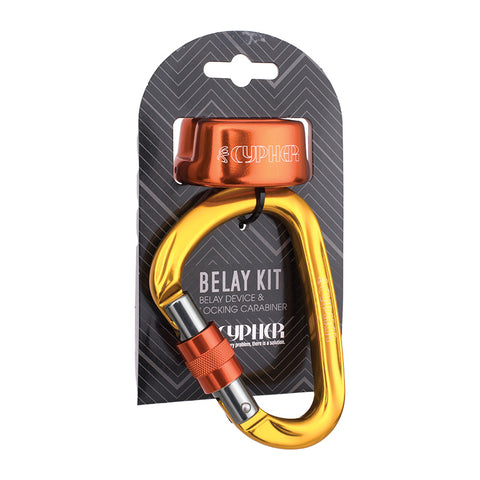 Cypher Arc Belay Device and Locking HMS Carabiner Kit