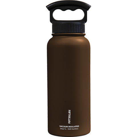 Fifty/Fifty 34 oz Vacuum Insulated Water Bottle with 3 Fing Mocha