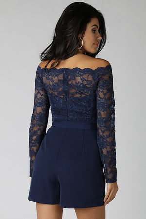 Navy Lace Off Shoulder Belted Romper - winsome-boutique