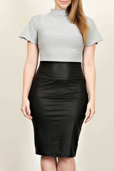 Plus Size Faux Leather Midi Skirt - winsome-boutique