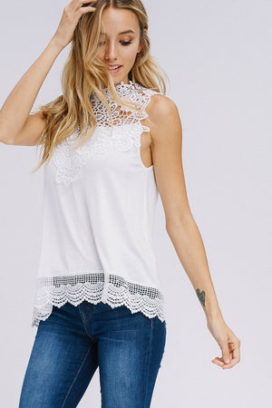 Sleeveless Lace Contrast Top - winsome-boutique