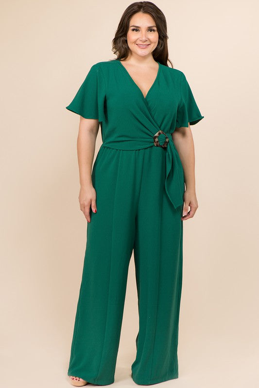 Plus Size Buckled Trim Wrap Full Length Jumpsuit