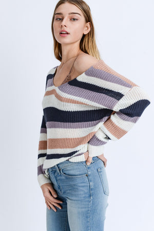 VNeck Striped Criss Cross Back Sweater - winsome-boutique