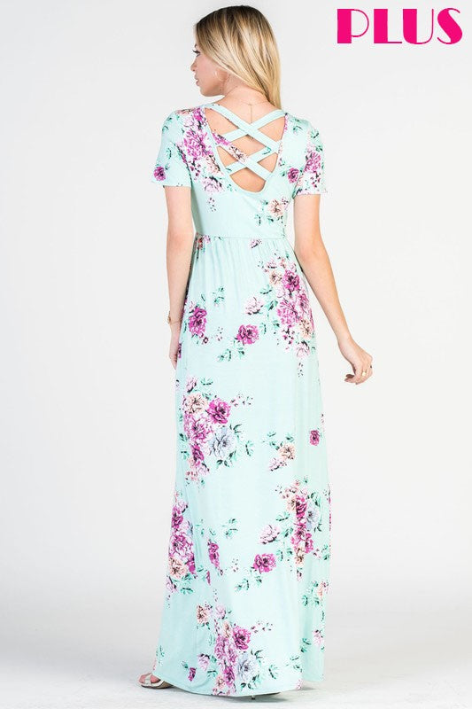 Plus Size Crisscross Floral Maxi Dress