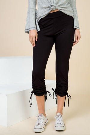 Plus Size Black Ruched Tie Pants - winsome-boutique