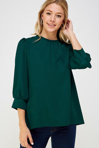 Hunter Green 3/4 Sleeve Blouse - winsome-boutique