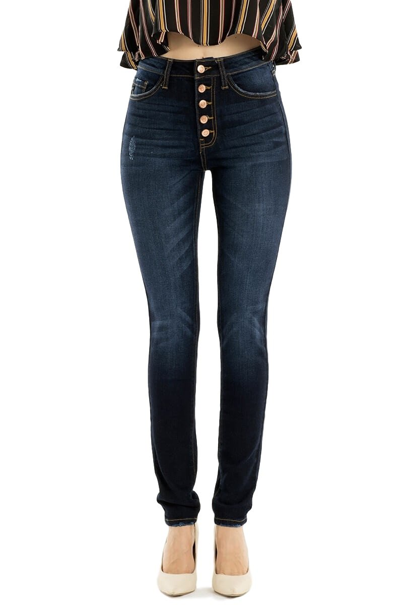 High-Rise Exposed Button Dark Wash Skinny Jeans