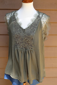 Olive Green Lace Top - winsome-boutique