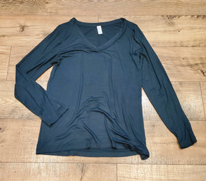 Dark Green Long Sleeved VNeck Top