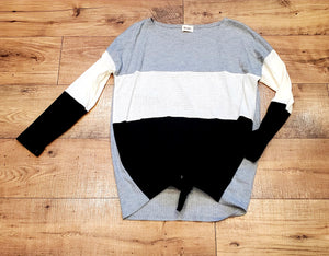 Color Block Thermal Waffle Knit Top