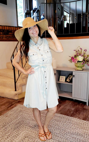Embroidered Sleeveless Denim Dress