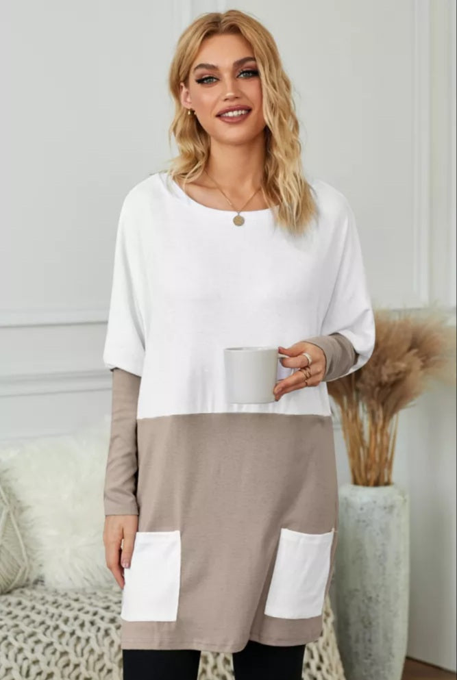 Khaki ColorBlock Tunic