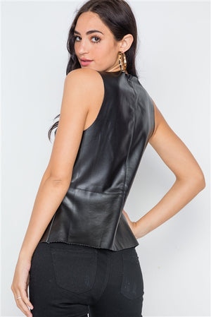 Black Raw Cut Zip-Up Faux Leather Top