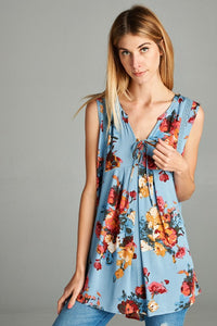Sleeveless Floral Print Top