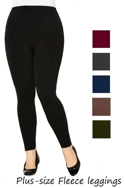 Plus Size Fleece Leggings-Navy