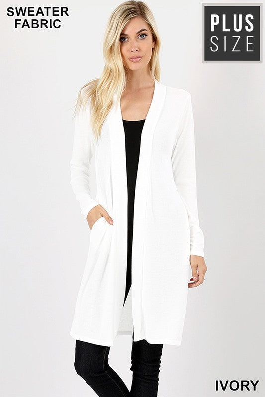 PLUS SWEATER OPEN FRONT LONGLINE CARDIGAN-IVORY