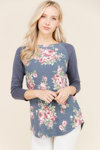 FRENCH TERRY ROUND NECK FLORAL TUNIC 3/4 SLEEVES - winsome-boutique
