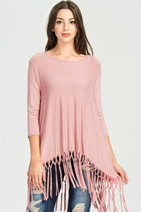 Plus Size Solid Trapeze Tunic Top with Fringe