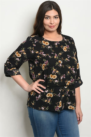 Plus Size Floral Print Top - winsome-boutique