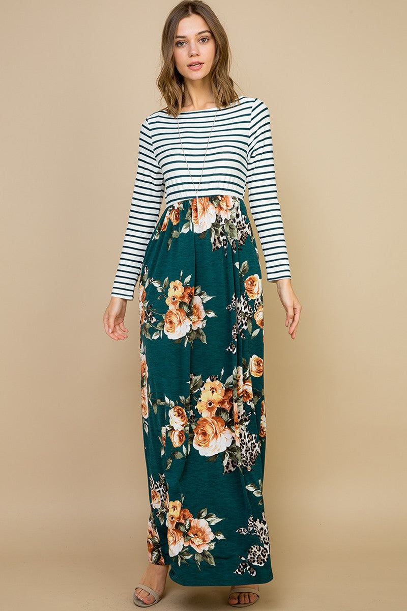 ITY Striped Animal Maxi Dress Combination - winsome-boutique