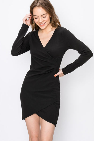 Asymetrical V Neck Bodycon Dress-Black