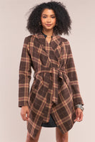 Brown Checkered Asymmetrical  Coat
