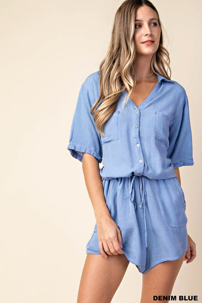 Washed Denim Blue Romper