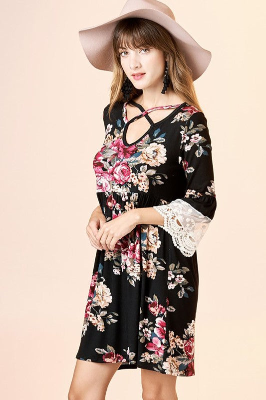 Floral Print Bell Lace Crochet Sleeves Loose Fit Dress