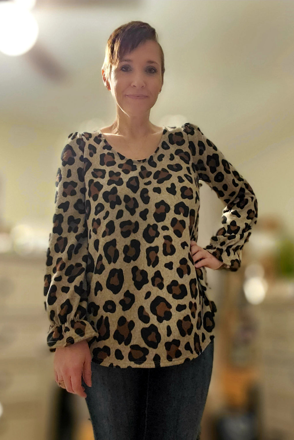 Scoop Neck Leopard Print Top