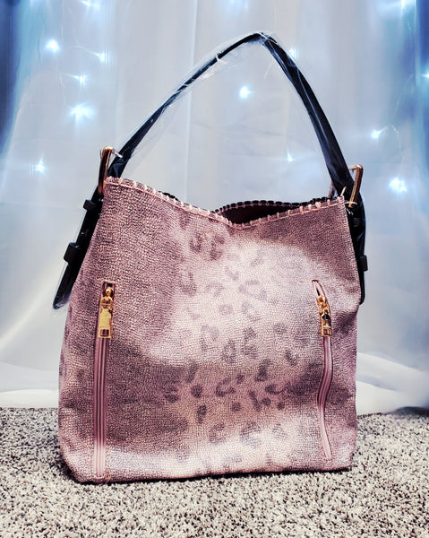 2 in 1 Concealed Carry Hobo Bag- Gray/Pink Leopard