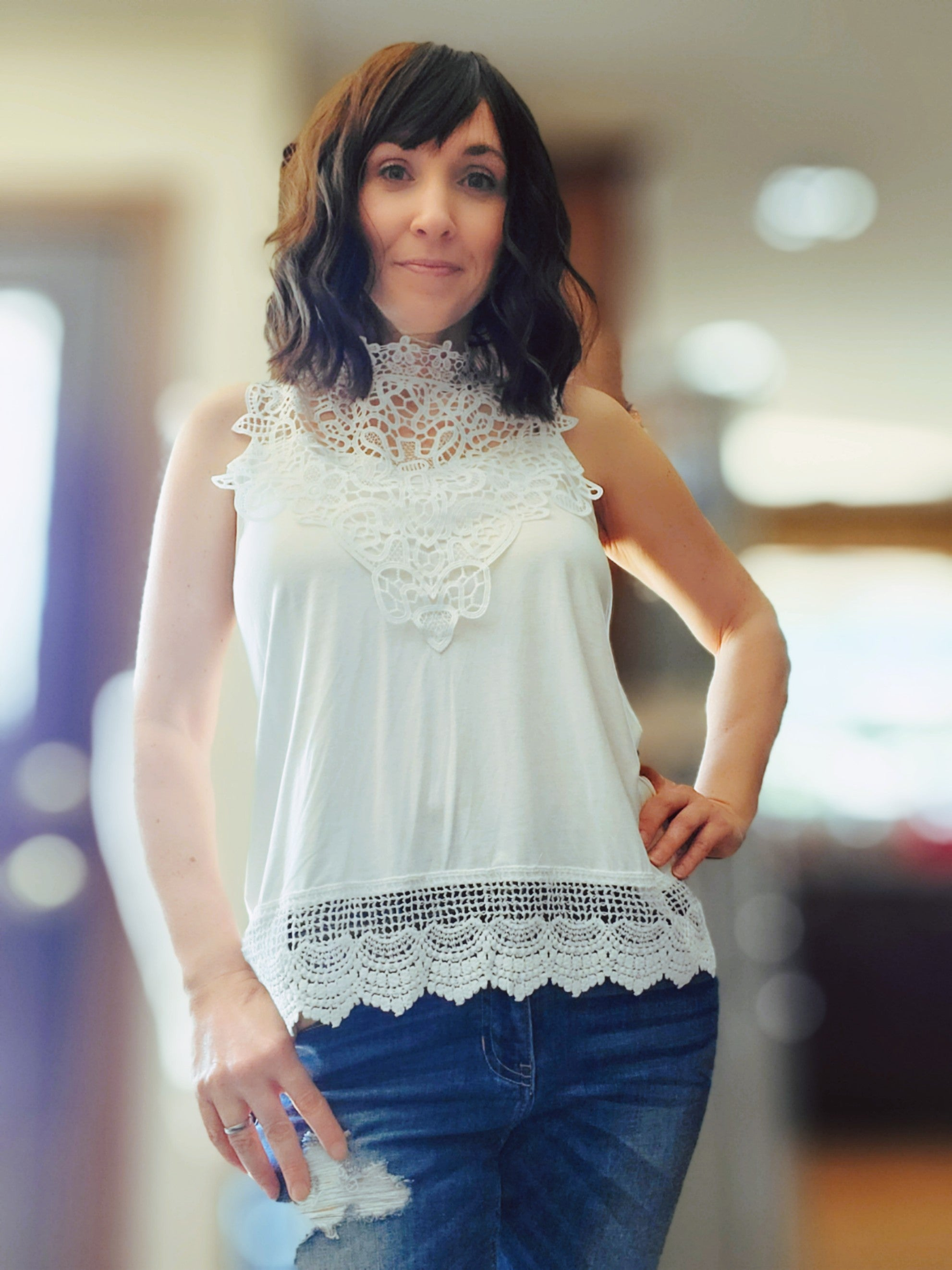 Sleeveless Lace Contrast Top