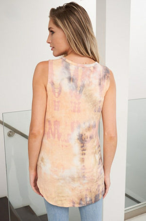 Sleeveless Tie Dye Knit Top